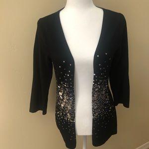 WHBM Gorgeous Black Sequin Cardigan - M